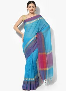 Blue Cotton Silk Woven Banarasi Saree