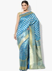 Light Blue Silk Cotton Blend Woven Banarasi Saree