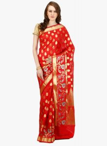 Red cotton Woven Banarasi Saree