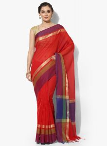 Red Cotton Silk Woven Banarasi Saree