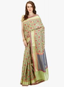 Light Green cotton Woven Banarasi Saree