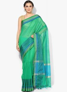 Green Cotton Silk Woven Banarasi Saree