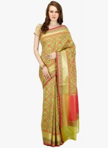 Multicolor cotton Woven Banarasi Saree