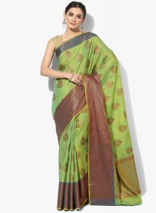 Green Silk Cotton Blend Woven Banarasi Saree