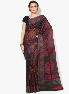 Black Cotton Woven Banarasi Saree