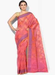 Pink Cotton Woven Banarasi Saree