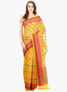 Yellow cotton Woven Banarasi Saree