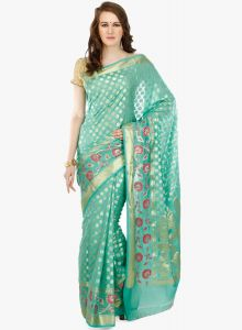 Green cotton Woven Banarasi Saree