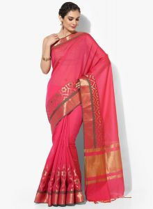 Pink Cotton Silk Woven Banarasi Saree