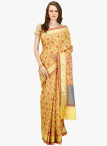Light Yellow cotton Woven Banarasi Saree