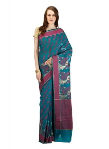 Grey cotton Woven Banarasi Saree