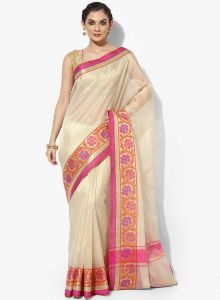 Beige Cotton Silk Woven Banarasi Saree