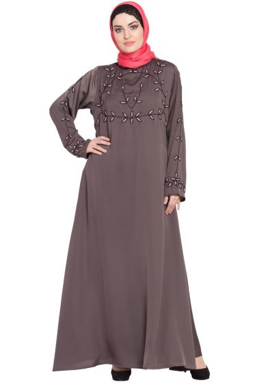 Nazneen Hand embroidered at chest and sleeve A line Nida abaya