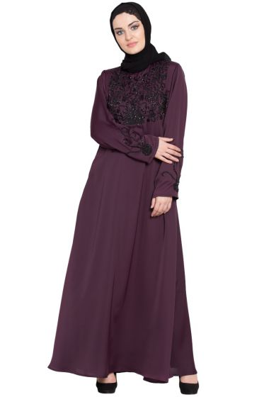 Nazneen embellishment at chest and sleeve A line Nida Abaya