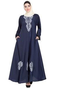 Nazneen Thread Embroidered Abaya