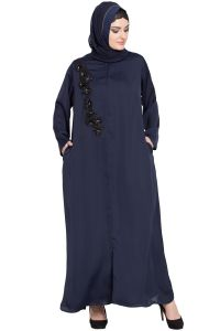 Nazneen Front zip and slit patch work Nida Abaya