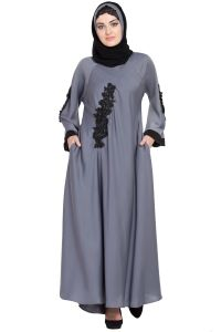 Nazneen embroidered patch Umbrella Abaya