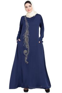 Nazneen Front Embroidered Umbrella Abaya