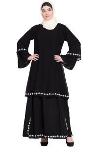 Nazneen Double Layer Bell Sleeve hand embroidered Abaya