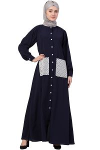 Nazneen Front Open white  patch pocket Casual Abaya