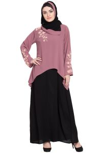 Nazneen contrast Double layer hand work a line Abaya