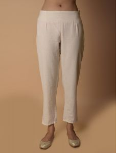 Pinksky Off White Cotton Pants For Women