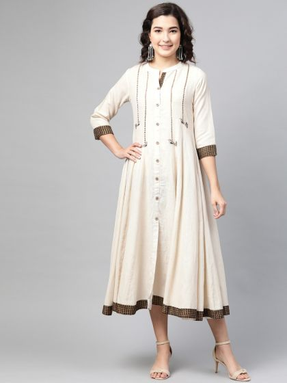 Pinksky Designer Cotton Front Open Embroidery Dresses For Women