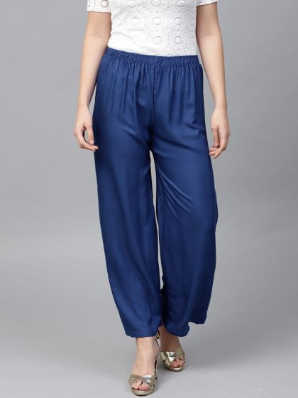 Designer Solid Navy Palazzos For Women