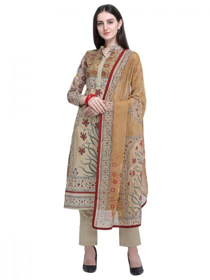 Olive Cotton Printed Dress Material