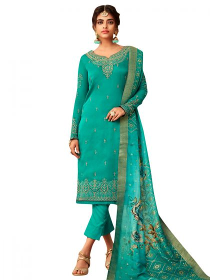 Green Satin Embroidered Dress Material