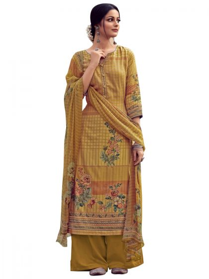 Yellow Jam Satin Embroidered Dress Material