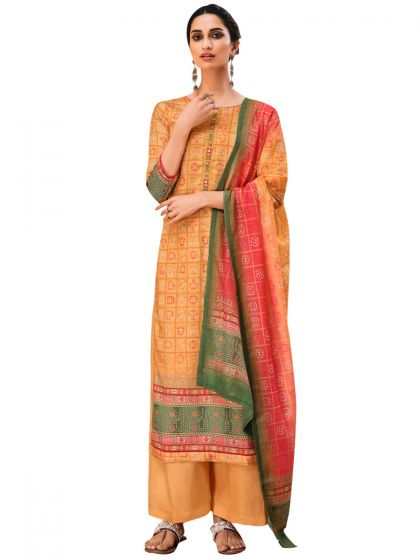 Orange Pure Cotton Embroidered Dress Material