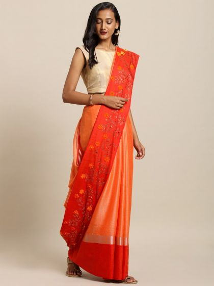 Orange Embellished Flower 3D Design Heavy Work Pure Linen Saree
