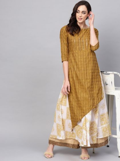 Pannkh Women's Handloom Lurex Double Layer Kurta