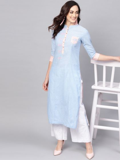 Pannkh Women's Handloom  Embroidered  Kurta