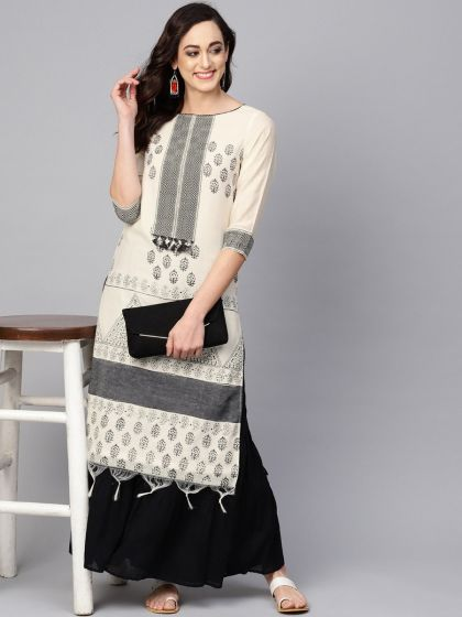 Pannkh Women's Straight Fit  Border Kurta