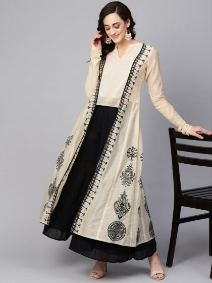 Pannkh Women's Printed Jacket Kurta