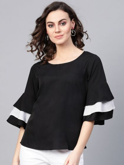 Pannkh Women's Solid Monocromatic Flare Sleeve Top
