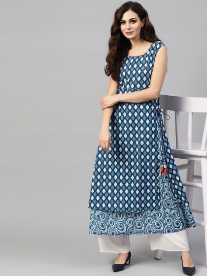 Blue & White Double Layered A-Line Kurta