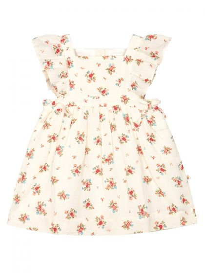 Cream-Coloured & Red Floral Printed
