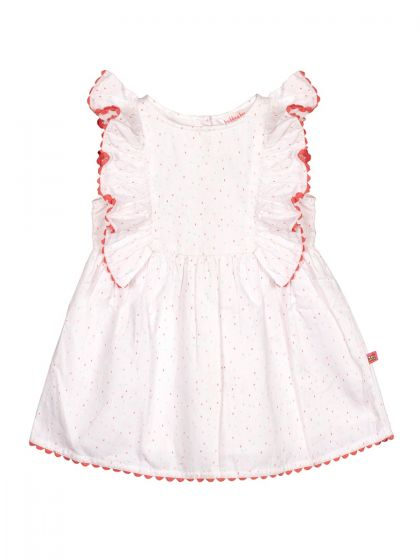 Infant Girls White & Red Printed Fit and Flare Dress