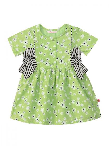 Girls Green Printed Fit and Flare Dress