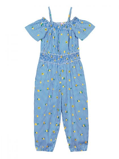 Girls Blue & Yellow Floral Printed Basic Jumpsuit