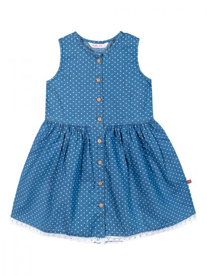 Girls Blue Printed Fit and Flare Dress