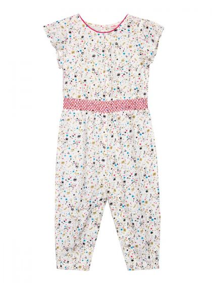 Infant Girls Off-White & Pink Printed Basic Jumpsuit