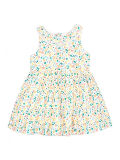 Girls Off-White Printed A-Line Dress