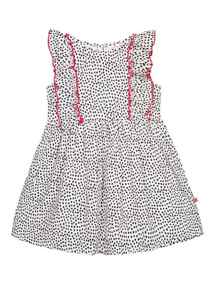 Girls Black & White Printed Fit and Flare Dress