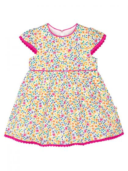 Girls Multicoloured Printed Fit and Flare Dress