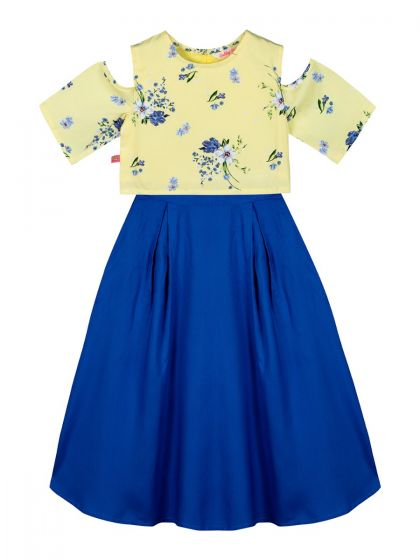 Girls Yellow & Blue Printed Top with Skirt