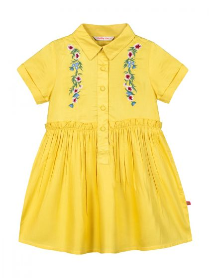 Girls Yellow Embroidered A-Line Dress